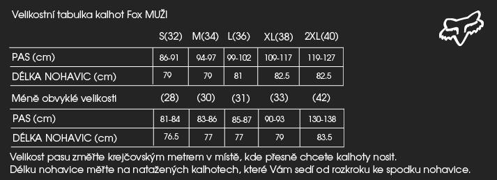 TABULKY VELIKOSTÍ OBLEČENÍ A DOPLŇKŮ FOX MTB (oblečení a doplňky pro  cyklistiku) d11e63a9c1